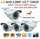 "x4 AHD 5.0MP 1/2.7"" 2560x1920 Waterproof In/outdoor Camera 36IR 5mp-3.6mm Lens"