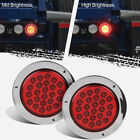 "2x24 LED Red 4"" Round Tail Stop Turn flashing Brake Lights Chrome Bezel Sealed #"