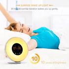 LED Natural Wake-Up Light Sunrise Simulation Alarm Clock FM Radio Night Lamp