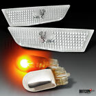 For 03-07 Infiniti G35 Coupe Side Marker Lights W/Chrome Amber Light Bulbs Lamps