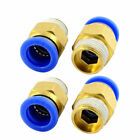 3/8PT Thread 12mm Tube Dia Pneumatic Straight Quick Fitting Connector 4PCS