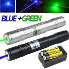 Blue&Green Laser Pointer Pen Visible Beam 1mW 20Miles Zoom Lazer+18650+Charger