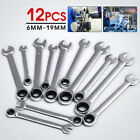 12 Spanner Wrench 6-19mm Ratchet Ring Box Set Mechanic Tool For Home Car Garage
