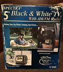 """NEW in Box Spectra 5"""" Black & White TV Radio 3-Way Power AC/DC Battery Car Cord"""
