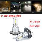 2pcs Car Silver 2 SMD H7 LED Fog Headlight Bulbs 6000K Lamps 8000LM Parts Set