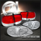 For 1996-1998 Honda Civic 4Dr Sedan Clear Headlights+Red/Clear Tail Lamps Pair