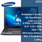 "Samsung ATIV Book 8 Series 15.6"" NT870Z5G-X71S Core i7-4710HQ 4th Gen 8GB HDD1TB"
