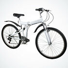 "New 26"" Folding Mountain Bicycle Foldable Bike 6 Speed Shimano White Color"