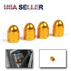 EASY MOD! BULLET HEAD! 4X JDM ANODIZED GOLD ALUMINUM METAL TIRE VALVE STEM CAPS