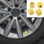 4PCS Car Wheel Tyre Tire Air Valves Dust Caps Stems Cover Wheel Rims Dice Yellow
