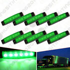 10x 12V 6LED Side Marker Indicators Light Truck Trailer Boat Clearence Green