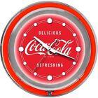 Coca-Cola Kitchen Wall Clock Chrome Double Ring Neon Time Piece Den Pub Bar NEW