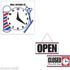 """Barber Shop Sign """"Will Return At"""" or Doubled Sided """"Open/Closed"""" Sign with Clock"""