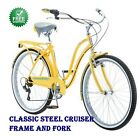 "26"" Schwinn Fairhaven Women's 7Speed Retro-style Steel Frame Cruiser Bike Yellow"