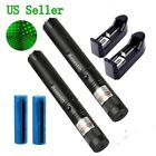 30Miles Powerful 2PC Green Laser Pointer Pen 5mw 532nm Star Cap +Battery+Charger
