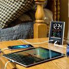 Desktop Dual USB Charging Port Clock with Alarm and Nap Timer Manual Time Set