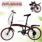 "Folding 20"" Bike 6 Speed Silver Bicycle Foldable Storage Shimano School Sports@C"