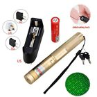 2 IN 1 532nm Green Laser Pointer High Power Rechargeable 18650+Holster Gold