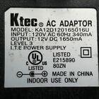 Ktec KA12D120165016U AC Power Supply Adapter Cord 12VDC 1650mA