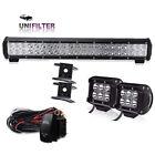 "20"" inch LED Light Bar + 18W Cube pods + 3lead Harness Remote Wiring Kits Rhino"