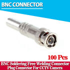 100pcs/lot BNC Male Connector for RG-59 Camera CCTV Screwing, Cable Crimp, End,