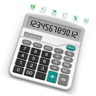 Calculator, Splaks Standard Functional Desktop Calculator Sola and AA Battery Du