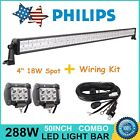 "50"" 288W Philips LED Light Bar & Wiring + 4"" Cree Spot Lights Off-road Jeep Ford"