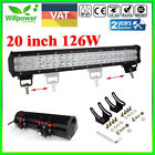 126W 20inch Cree LED Light Bar Flood Spot Work Driving Offroad 4WD Truck Combo