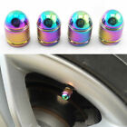 4X Car Rainbow Metal Bullet  Exterior Wheel Tyre Air Valve Stems Dust Cover Cap