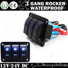 3 Gang Waterproof Switch Rocker Control Panel w/ Blue LED light Car Marine Boat