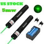 Powerful Green Laser Pointer Pen 2PC 10Mile 5mw 532nm Military+Battery+Charger