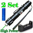 2PC 10Miles Powerful Green Laser Pointer Pen 5mw 532nm Belt clip+Batt+Charger