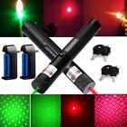 2PC 20Miles 5mw 650/532nm Red+Green Star Cap 2In1 Laser Pointer+Battery+Charger