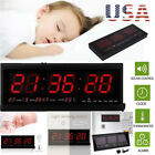 Digital Large Big Digits LED Wall Desk ALARM Clock Calendar Temperature 2018 US
