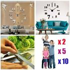 5/10 Modern DIY Large Wall Clock 3D Mirror Surface Sticker Home Office Decor LOT