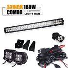 "32"" 30"" LED Work Light Bar Spot Flood+Light pod+Wiring Offroad SUV Jeep Truck"