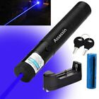 Powerful 5MW 405nm Blue Purple Laser Pointer Military Laser Pen+Battery+Charger