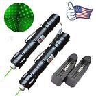 2PC 10Miles Military 5mw 532nm Powerful Pet Toy Green Laser Pen+Battery+Charger