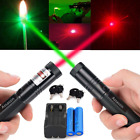2X 50Mile 5mw 532/650nm Red&Green Laser Pointer Pen Visible Beam+Battery+Charger