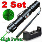 2PC Cat Toy Green Laser Pointer Pen 5mw 532nm Star Cap Belt clip+Battery+Charger