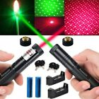 2PC 5mw 532/650nm Red+Green Laser Pointer Pen Beam+Star Cap+Battery+Charger US