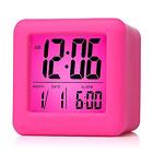 Digital Pink Travel Alarm Clock Soft Nightlight Displays Time/Month/Date Snooze