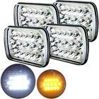 "4Pcs 7x6"" Led Sealed Beam Headlights White/Amber Hi/Lo Headlamps Jeep Cherokee"