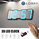 Loskii 115 Color LED 3D Digital Desk Wall Clock Thermometer Remote/Vioce Control