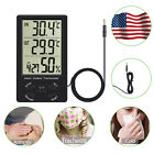 Digital LCD Indoor/Outdoor Thermometer Temperature Hygrometer 10% to 99% Black