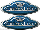 """CrownLine Boat Remastered Oval Blue Classic Stickers 10""""X 3.5"""" each"""