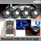 4Pcs RGB LED Rock Lights Wireless Bluetooth Music Multi-color Offroad Truck Boat