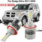 H13 9008 LED Headlight Kit Bulbs For Dodge Nitro 2011-2008 Hi/Lo Beam 6000K