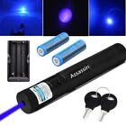 Powerful Blue Purple 4mw 405nm Laser Pen Cat Toy Lazer Pen+2xBatt Dual Charger