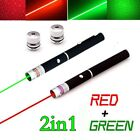 2PC Powerful 4mw GREEN RED Laser Pointer Pen 10Miles 2In1 Visible Beam Pet Toy